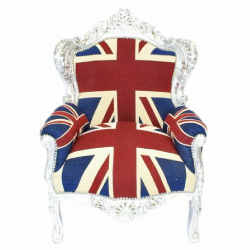 ARMCHAIR - BAROQUE STYLE ARMCHAIR SILVER & UNION JACK # F30MB140